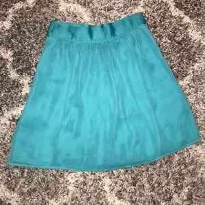 High waisted teal midi skirt
